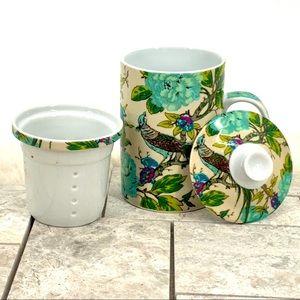 World Market Ceramic 3 PC Peacock Tea Coffee Mug